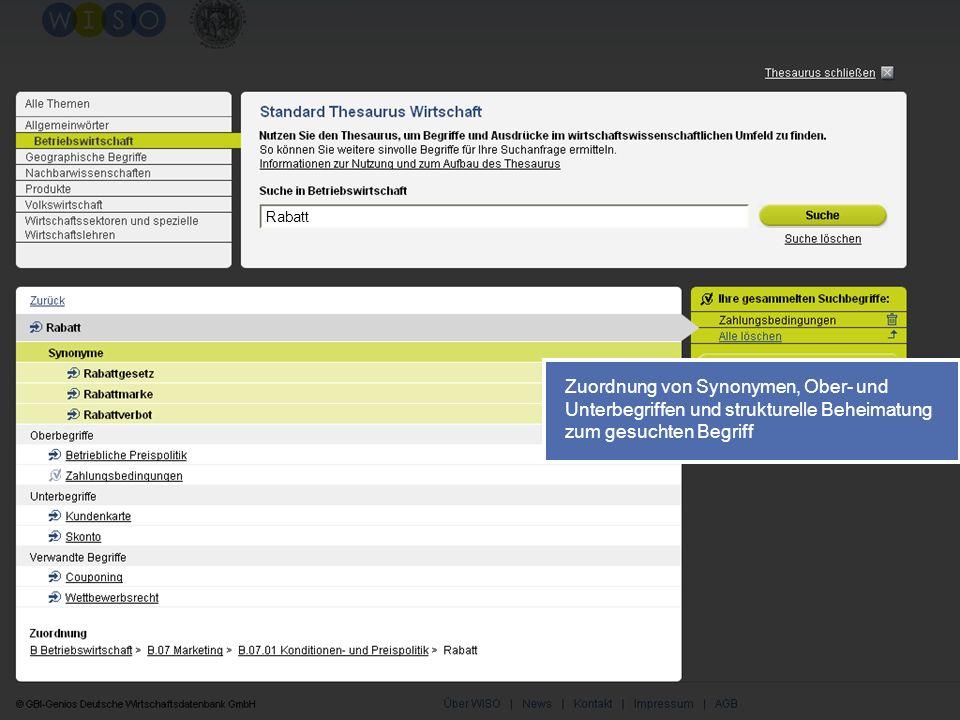 53 Zuordnung von Synonymen, Ober- und Unterbegriffen und strukturelle Beheimatung zum gesuchten Begriff Rabatt