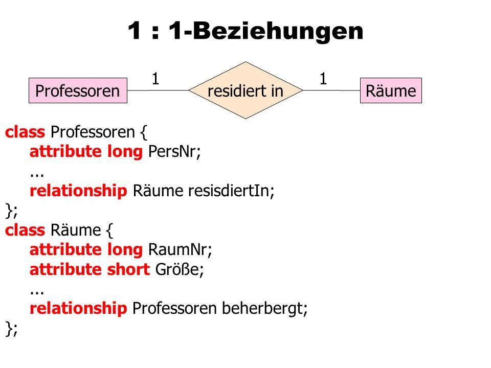 1 : 1-Beziehungen ProfessorenRäume residiert in 11 class Professoren { attribute long PersNr;...