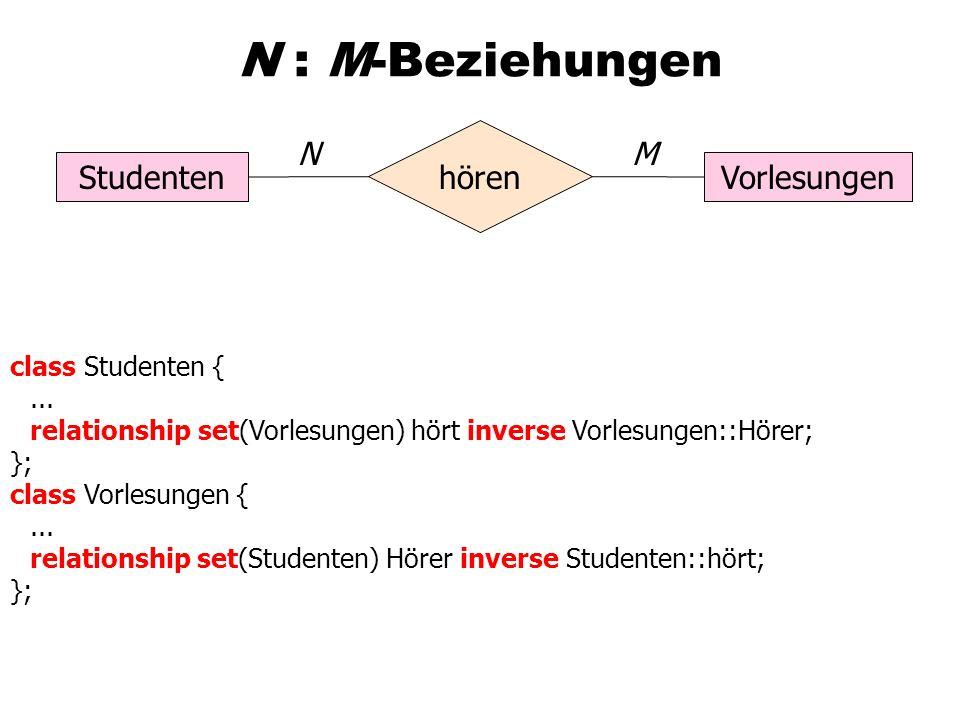 N : M-Beziehungen StudentenVorlesungen hören NM class Studenten {...