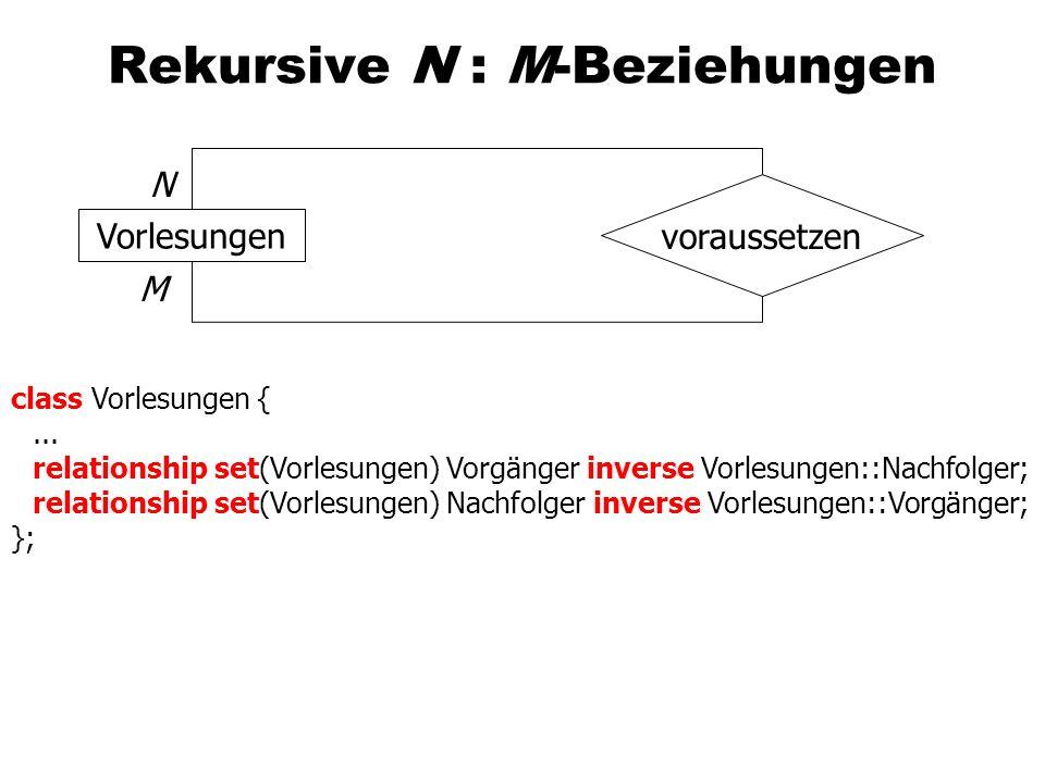 Rekursive N : M-Beziehungen Vorlesungen voraussetzen N M class Vorlesungen {...