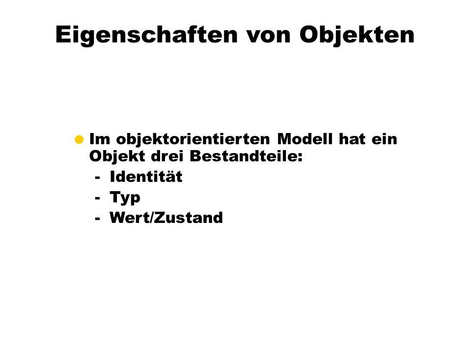 Eigenschaften von Objekten Im objektorientierten Modell hat ein Objekt drei Bestandteile: -Identität -Typ -Wert/Zustand