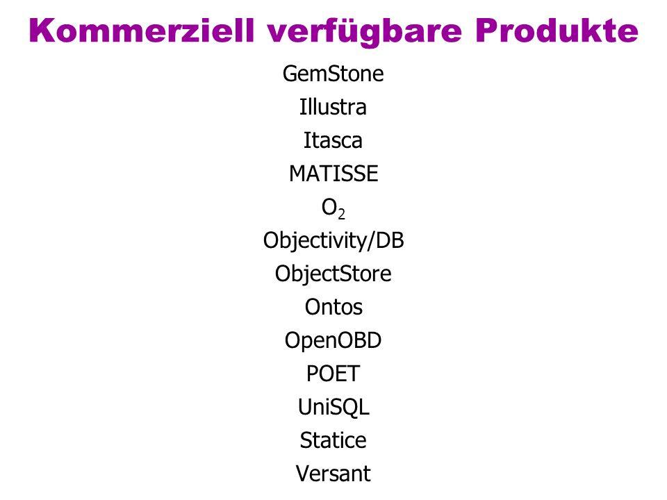 Kommerziell verfügbare Produkte GemStone Illustra Itasca MATISSE O 2 Objectivity/DB ObjectStore Ontos OpenOBD POET UniSQL Statice Versant