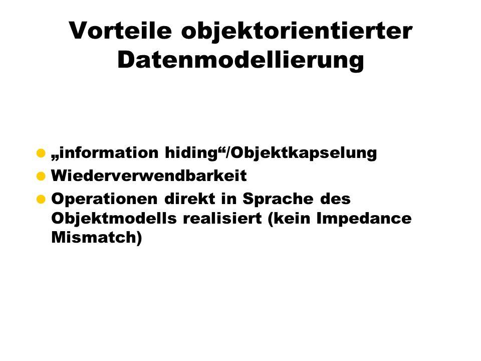 Vorteile objektorientierter Datenmodellierung information hiding/Objektkapselung Wiederverwendbarkeit Operationen direkt in Sprache des Objektmodells realisiert (kein Impedance Mismatch)
