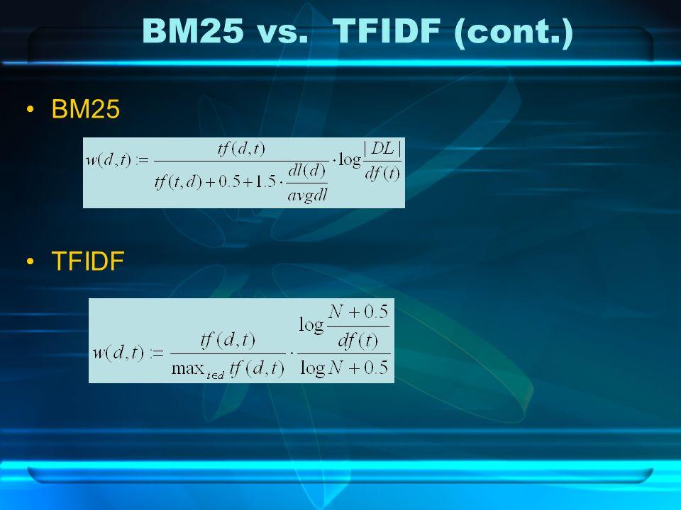 BM25 vs. TFIDF (cont.) BM25 TFIDF