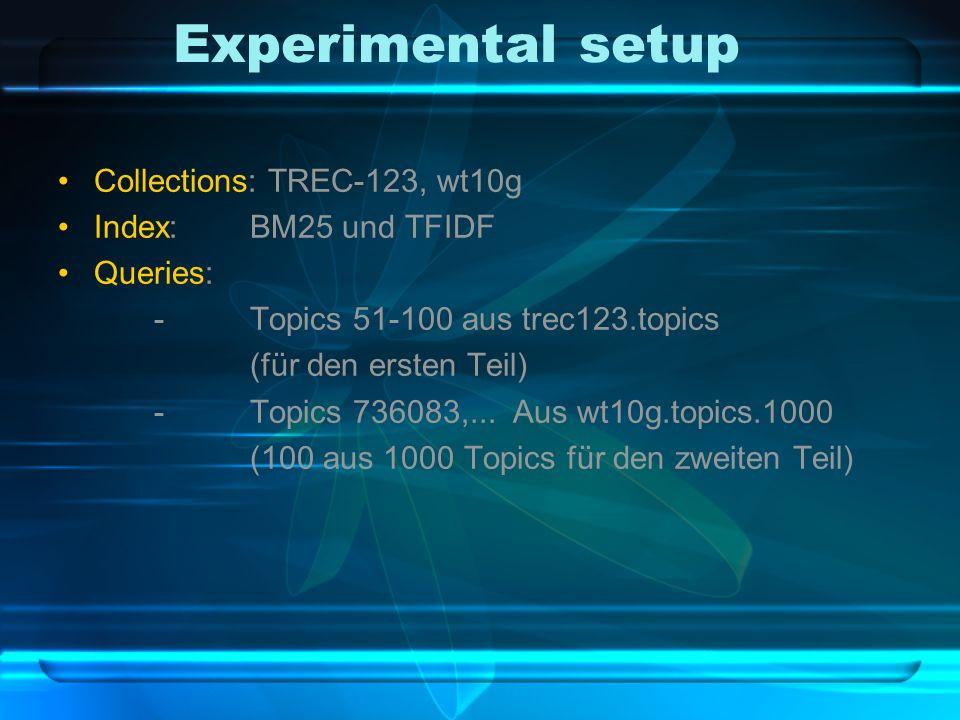 Experimental setup Collections: TREC-123, wt10g Index:BM25 und TFIDF Queries: -Topics 51-100 aus trec123.topics (für den ersten Teil) -Topics 736083,...