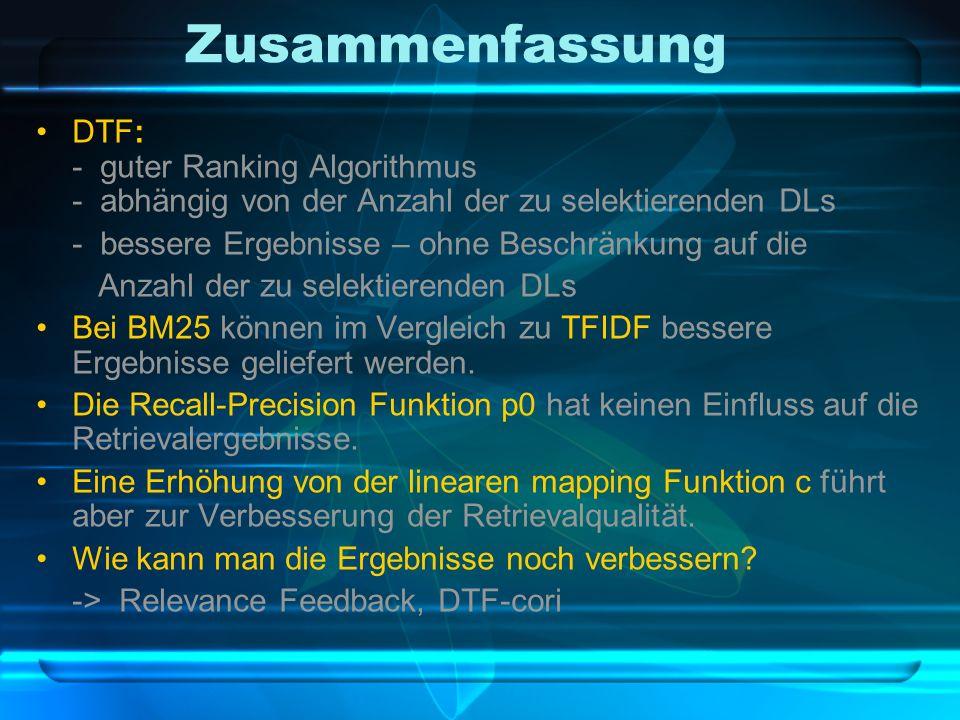 Zusammenfassung DTF: - guter Ranking Algorithmus - abhängig von der Anzahl der zu selektierenden DLs - bessere Ergebnisse – ohne Beschränkung auf die Anzahl der zu selektierenden DLs Bei BM25 können im Vergleich zu TFIDF bessere Ergebnisse geliefert werden.