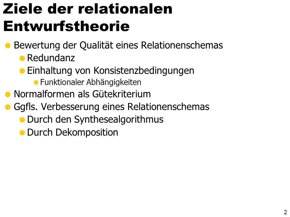 2 Ziele der relationalen Entwurfstheorie Bewertung der Qualität eines Relationenschemas Redundanz Einhaltung von Konsistenzbedingungen Funktionaler Abhängigkeiten Normalformen als Gütekriterium Ggfls.