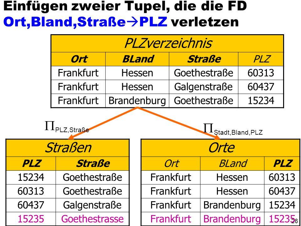 25 Zerlegung der Relation PLZverzeichnis PLZverzeichnis OrtBLandStraßePLZ FrankfurtHessenGoethestraße60313 FrankfurtHessenGalgenstraße60437 FrankfurtB