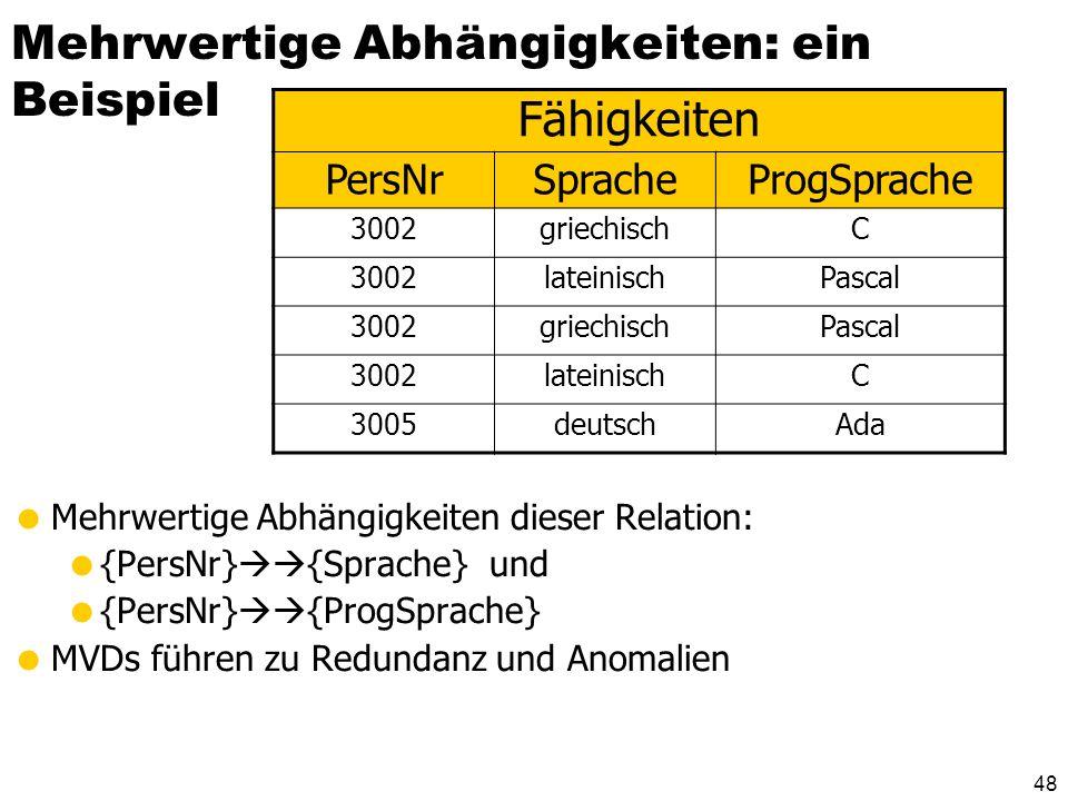 47 Mehrwertige Abhängigkeiten A B A C R ABC abc abbcc abbc abcc