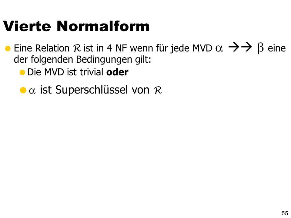 54 Triviale MVDs … … sind solche, die von jeder Relationenausprägung erfüllt werden Eine MVD ist trivial genau dann wenn oder = R -
