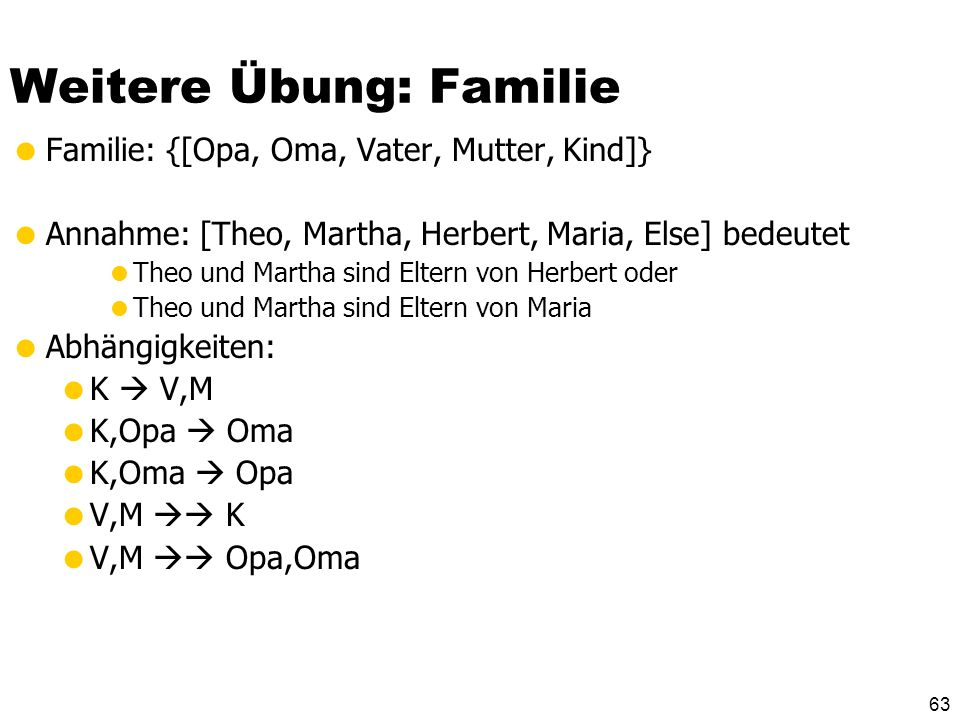 62 Weitere Übung: Familie Familie: {[Opa, Oma, Vater, Mutter, Kind]} Annahme: [Theo, Martha, Herbert, Maria, Else] bedeutet Theo und Martha sind Elter