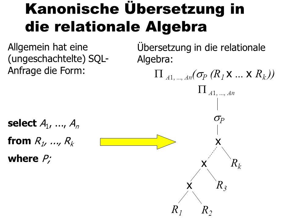 Kanonische Übersetzung in die relationale Algebra Allgemein hat eine (ungeschachtelte) SQL- Anfrage die Form: select A 1,..., A n from R 1,..., R k wh