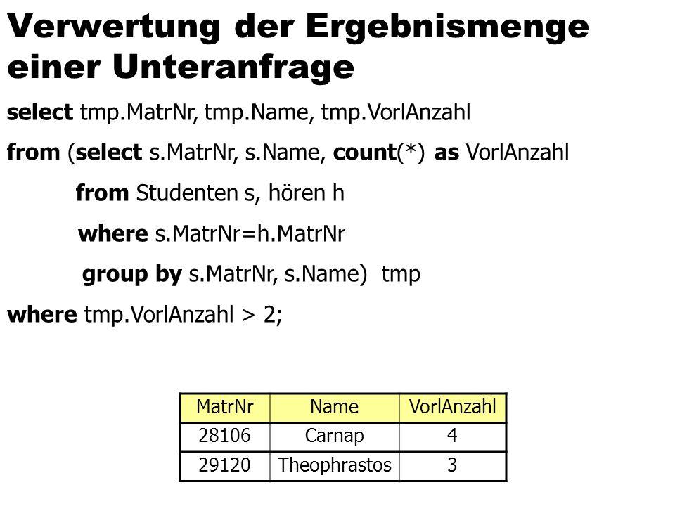 Verwertung der Ergebnismenge einer Unteranfrage select tmp.MatrNr, tmp.Name, tmp.VorlAnzahl from (select s.MatrNr, s.Name, count(*) as VorlAnzahl from