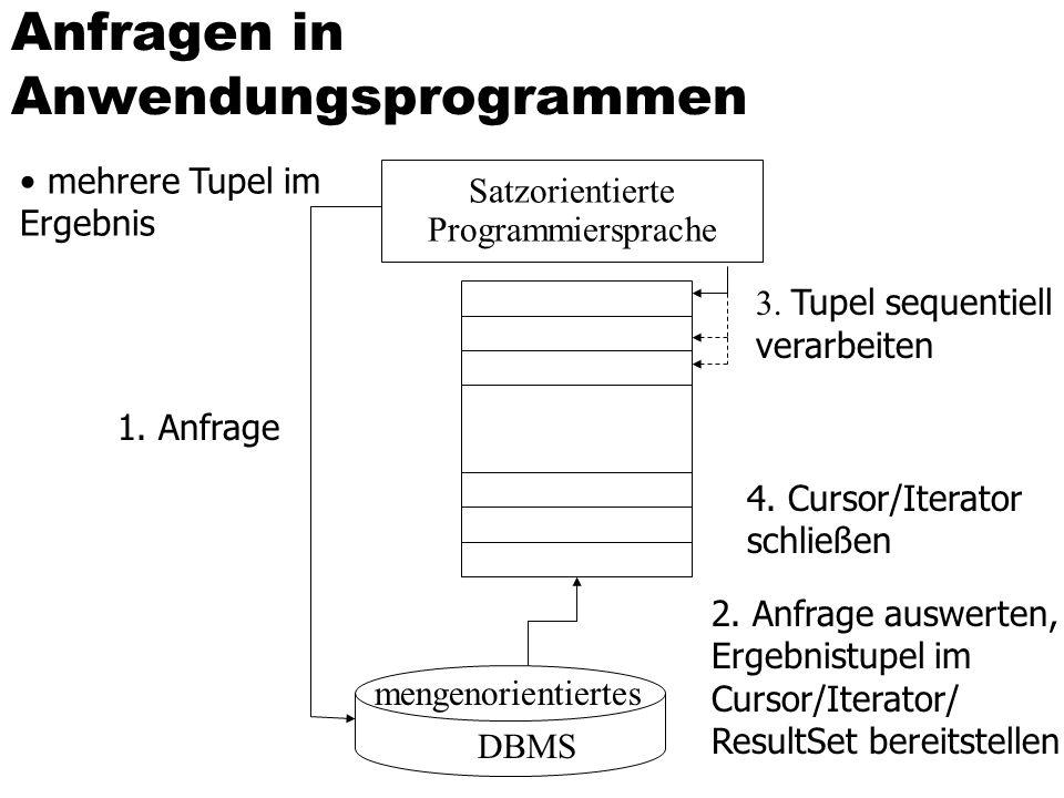 Anfragen in Anwendungsprogrammen mehrere Tupel im Ergebnis Satzorientierte Programmiersprache mengenorientiertes DBMS 1. Anfrage 3. Tupel sequentiell