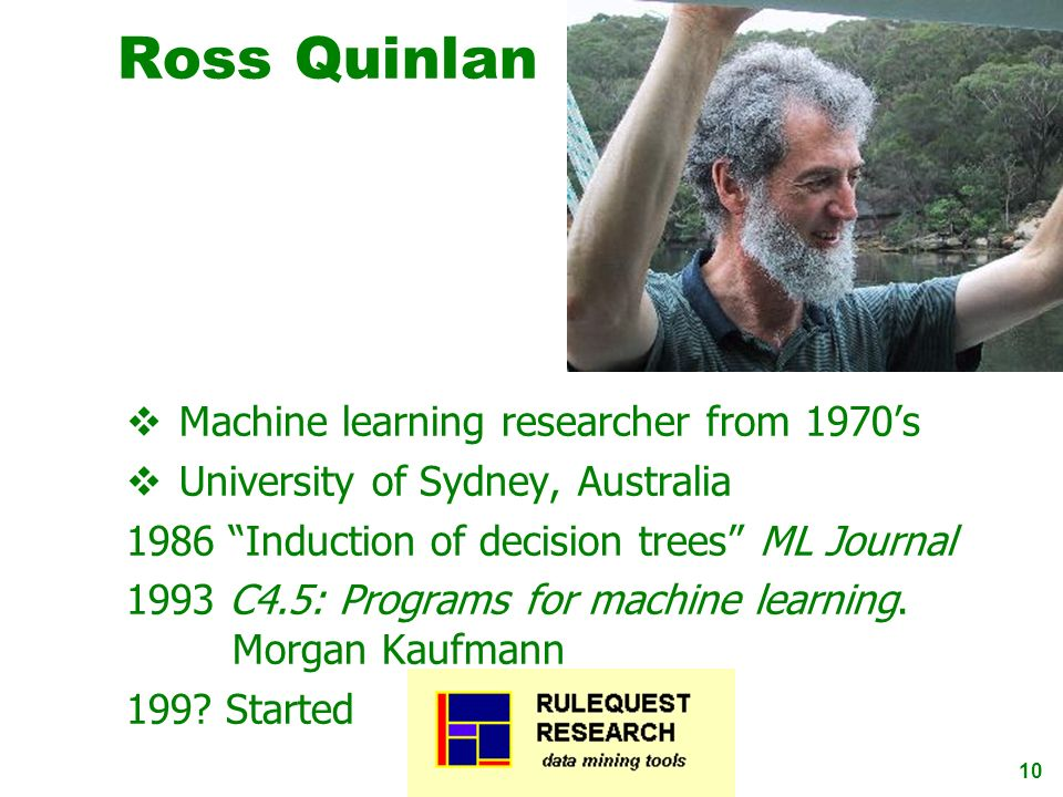 10 Ross Quinlan Machine learning researcher from 1970s University of Sydney, Australia 1986 Induction of decision trees ML Journal 1993 C4.5: Programs