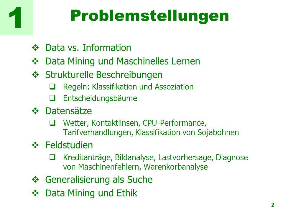2 Problemstellungen Data vs. Information Data Mining und Maschinelles Lernen Strukturelle Beschreibungen Regeln: Klassifikation und Assoziation Entsch