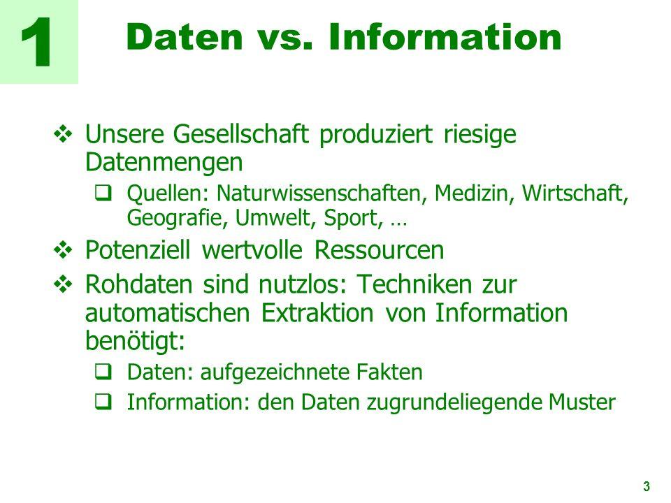 3 Daten vs. Information Unsere Gesellschaft produziert riesige Datenmengen Quellen: Naturwissenschaften, Medizin, Wirtschaft, Geografie, Umwelt, Sport