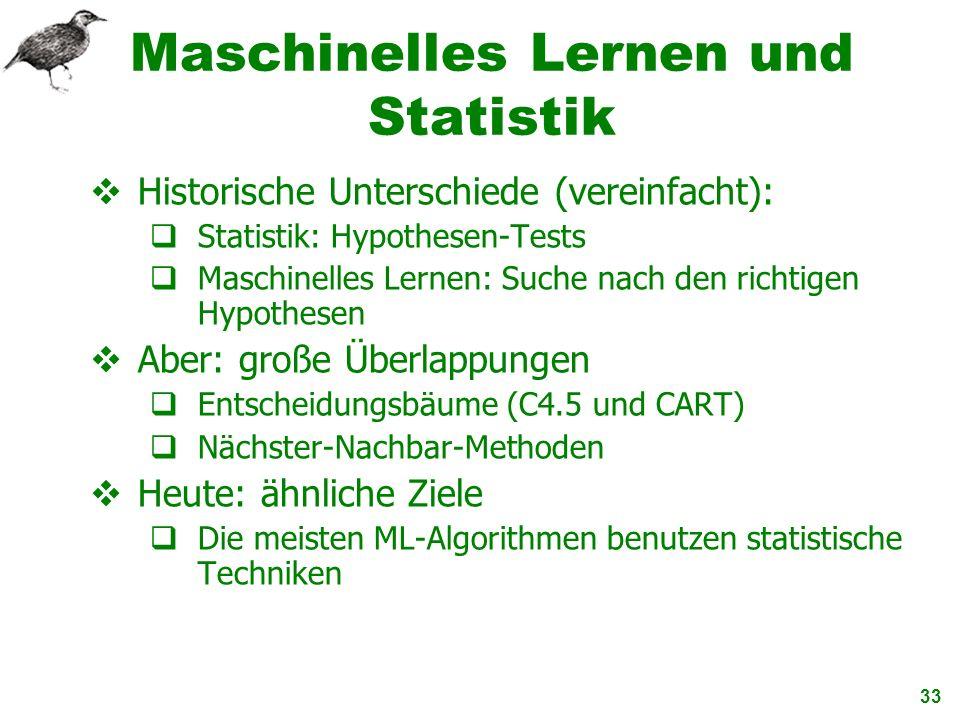 33 Maschinelles Lernen und Statistik Historische Unterschiede (vereinfacht): Statistik: Hypothesen-Tests Maschinelles Lernen: Suche nach den richtigen