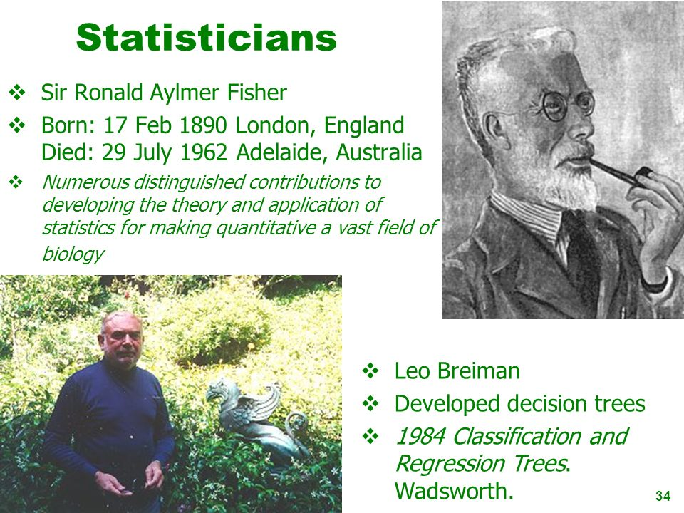 34 Statisticians Sir Ronald Aylmer Fisher Born: 17 Feb 1890 London, England Died: 29 July 1962 Adelaide, Australia Numerous distinguished contribution