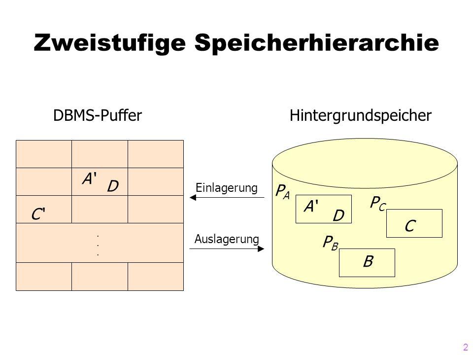 2 Zweistufige Speicherhierarchie...... C A D DBMS-Puffer A D C B PAPA PBPB PCPC Hintergrundspeicher Einlagerung Auslagerung