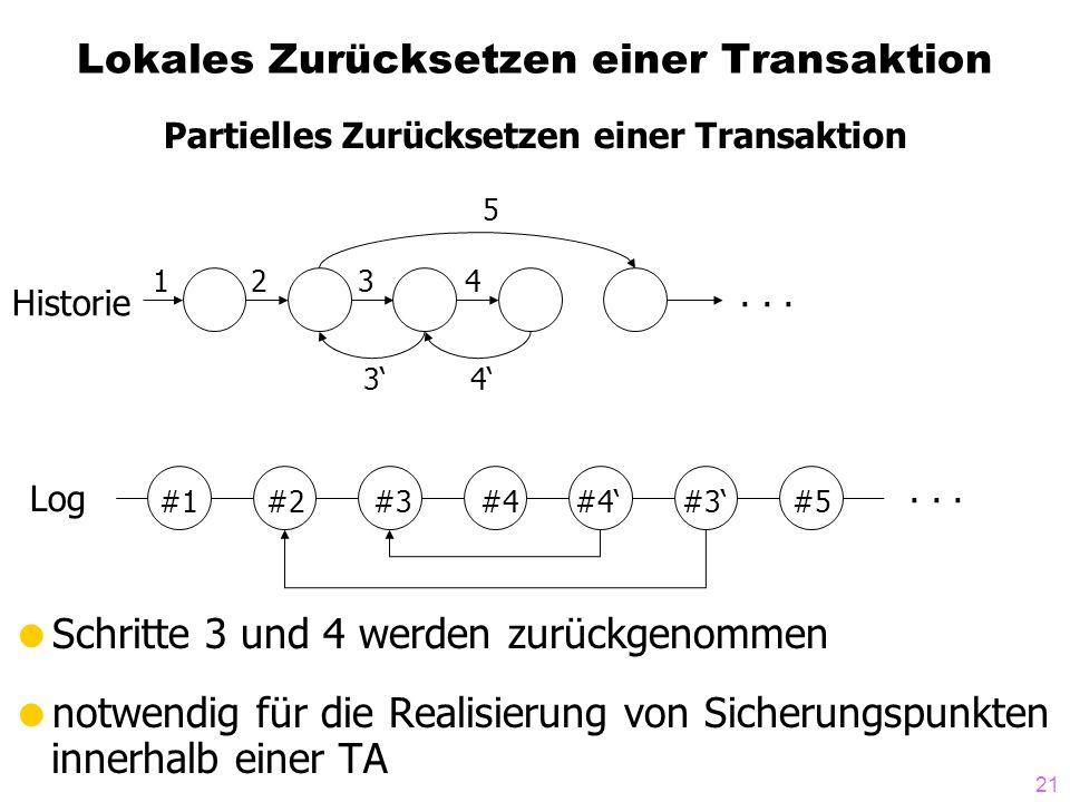 21 Lokales Zurücksetzen einer Transaktion Schritte 3 und 4 werden zurückgenommen notwendig für die Realisierung von Sicherungspunkten innerhalb einer