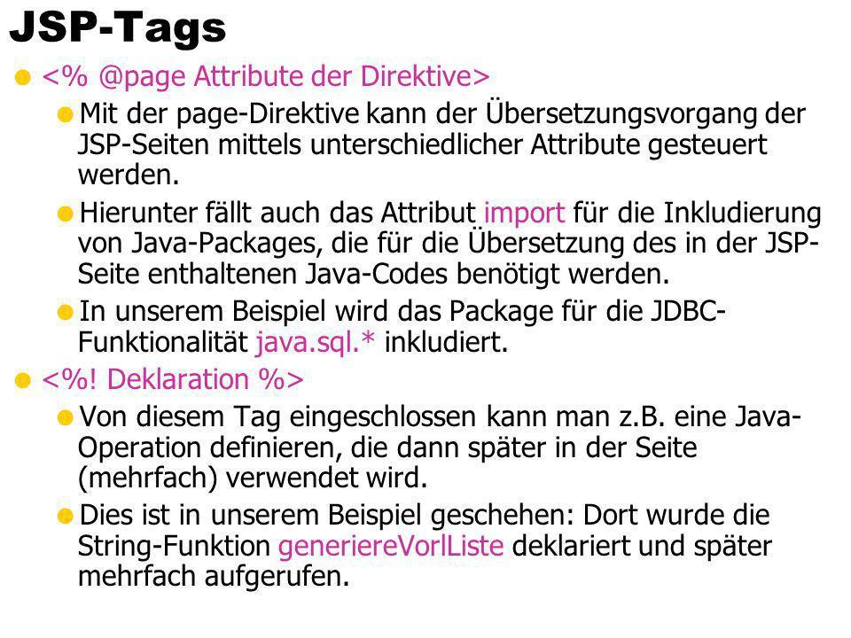 JSP-Tags Mit der page-Direktive kann der Übersetzungsvorgang der JSP-Seiten mittels unterschiedlicher Attribute gesteuert werden. Hierunter fällt auch