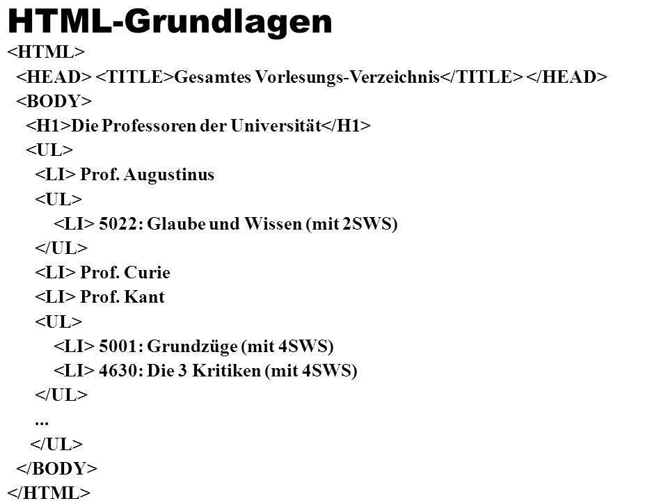 HTML-Grundlagen Gesamtes Vorlesungs-Verzeichnis Die Professoren der Universität Prof. Augustinus 5022: Glaube und Wissen (mit 2SWS) Prof. Curie Prof.