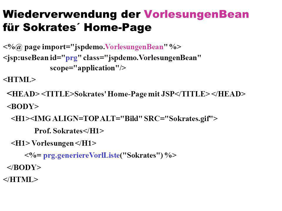 Wiederverwendung der VorlesungenBean für Sokrates´ Home-Page <jsp:useBean id=