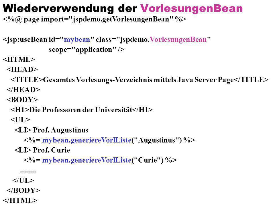 Wiederverwendung der VorlesungenBean <jsp:useBean id=