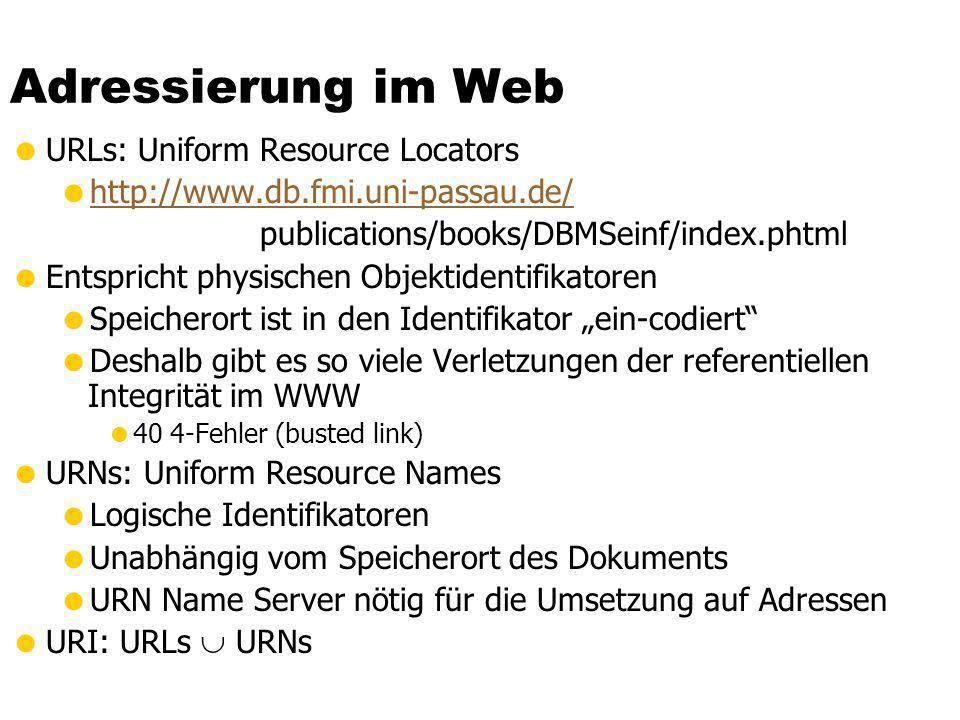Adressierung im Web URLs: Uniform Resource Locators http://www.db.fmi.uni-passau.de/ publications/books/DBMSeinf/index.phtml Entspricht physischen Obj
