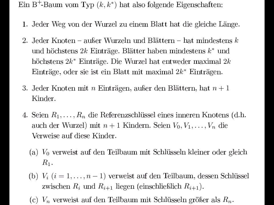 113 B + -Baum Referenz- schlüssel Such- schlüssel