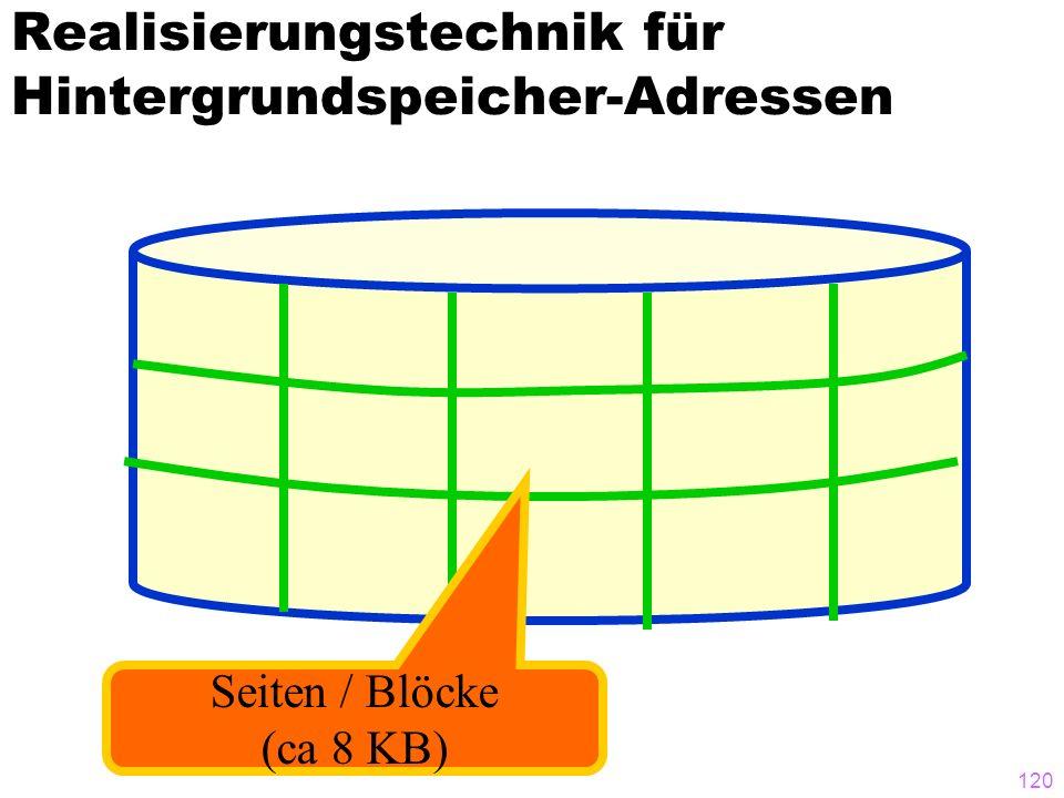 119 Eine andere Möglichkeit: Referenzierung über Speicheradressen PersNr Alter 007,...