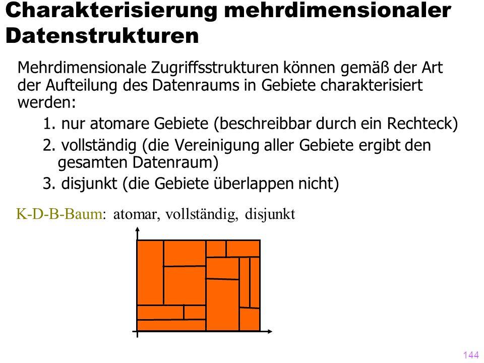 143 Mehrdimensionale Zugriffsstrukturen können gemäß der Art der Aufteilung des Datenraums in Gebiete charakterisiert werden: 1.