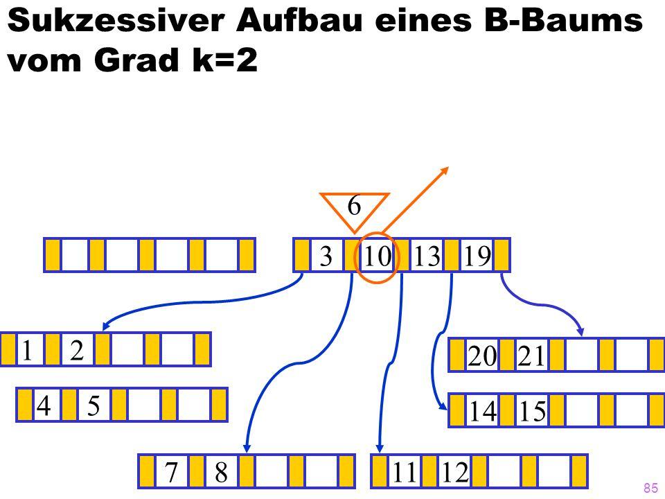 84 Sukzessiver Aufbau eines B-Baums vom Grad k=2 12 1415 ? 3101319 781112 2021 6 45