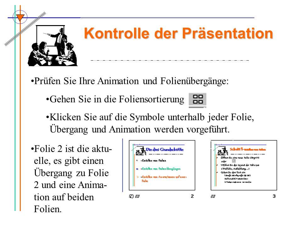 Kontrolle der Präsentation Prüfen Sie Ihre Animation und Folienübergänge: Gehen Sie in die Foliensortierung Klicken Sie auf die Symbole unterhalb jede