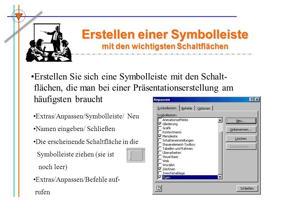Erstellen einer Symbolleiste mit den wichtigsten Schaltflächen Erstellen Sie sich eine Symbolleiste mit den Schalt- flächen, die man bei einer Präsent