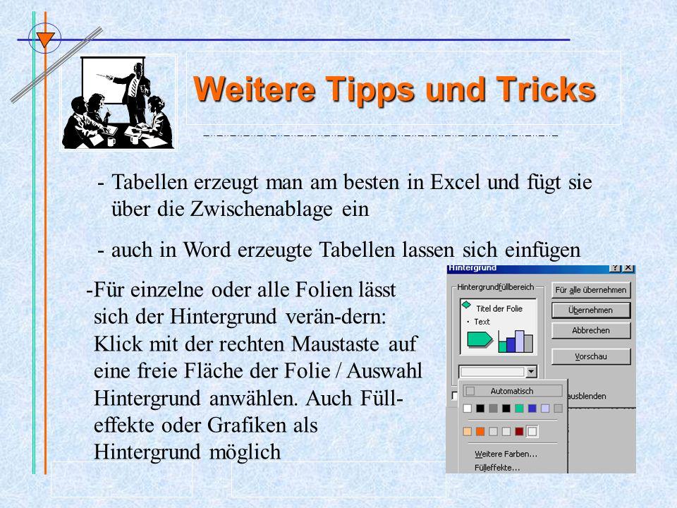 Weitere Tipps und Tricks -Tabellen erzeugt man am besten in Excel und fügt sie über die Zwischenablage ein -auch in Word erzeugte Tabellen lassen sich