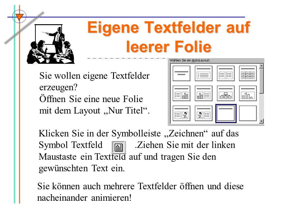 Eigene Textfelder auf leerer Folie Sie wollen eigene Textfelder erzeugen? Öffnen Sie eine neue Folie mit dem Layout Nur Titel. Klicken Sie in der Symb