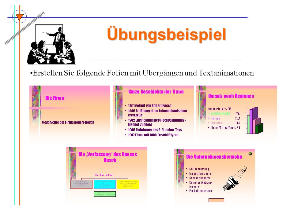 Übungsbeispiel Erstellen Sie folgende Folien mit Übergängen und Textanimationen