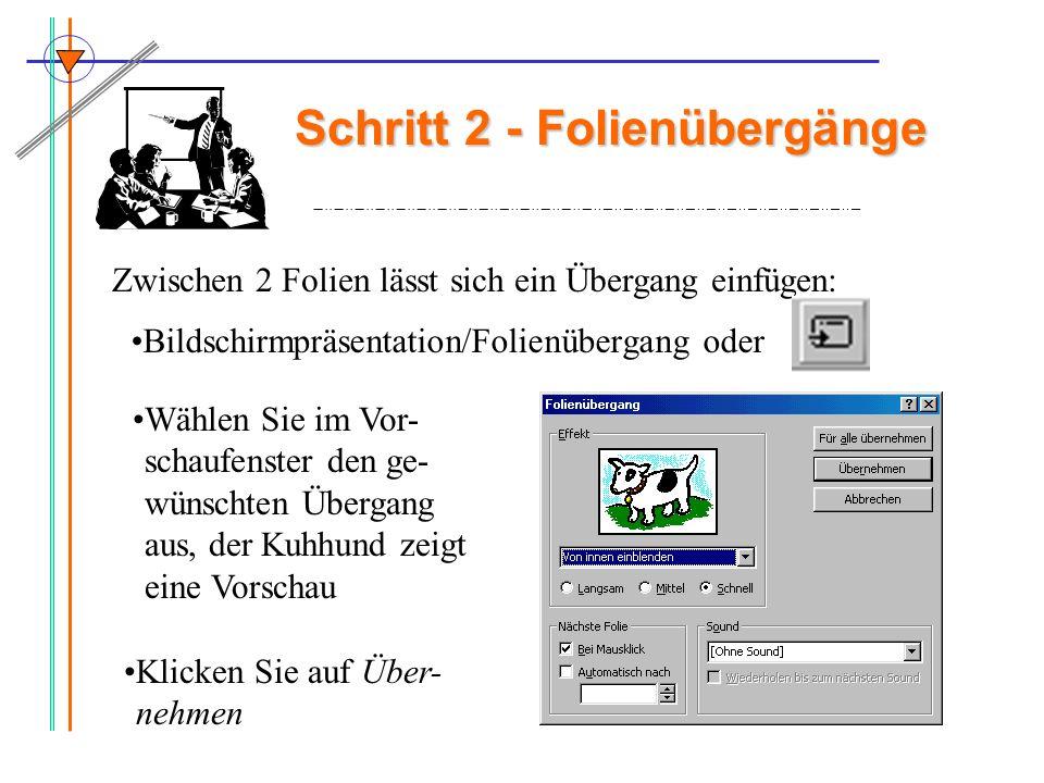 Schritt 3 : Animationen auf der Folie –Teil 1 Bildschirmpräsentation/ benutzerdefinierte Animation Oder: -zu animierende Objekte abhaken -Animationsreihenfolge festlegen (Vorschau!!) -Effekte auswählen (Re- gisterkarte 2) -Animation starten : bei Mausklick Dann: