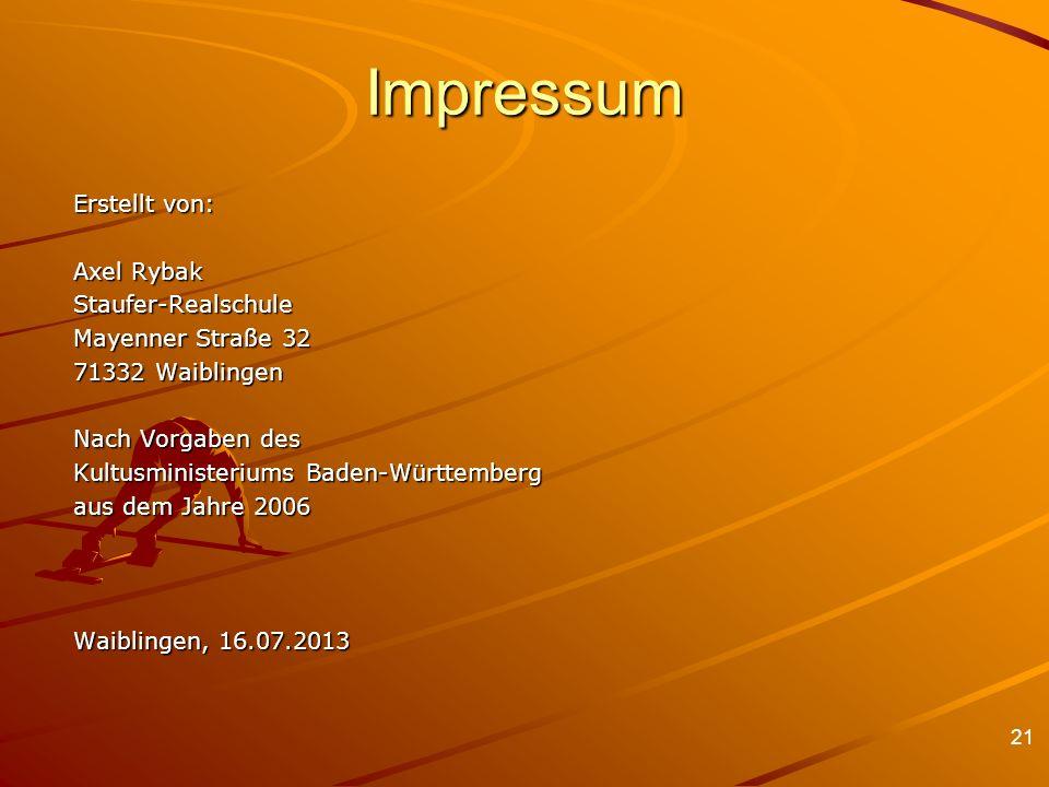 21 Impressum Erstellt von: Axel Rybak Staufer-Realschule Mayenner Straße 32 71332 Waiblingen Nach Vorgaben des Kultusministeriums Baden-Württemberg au