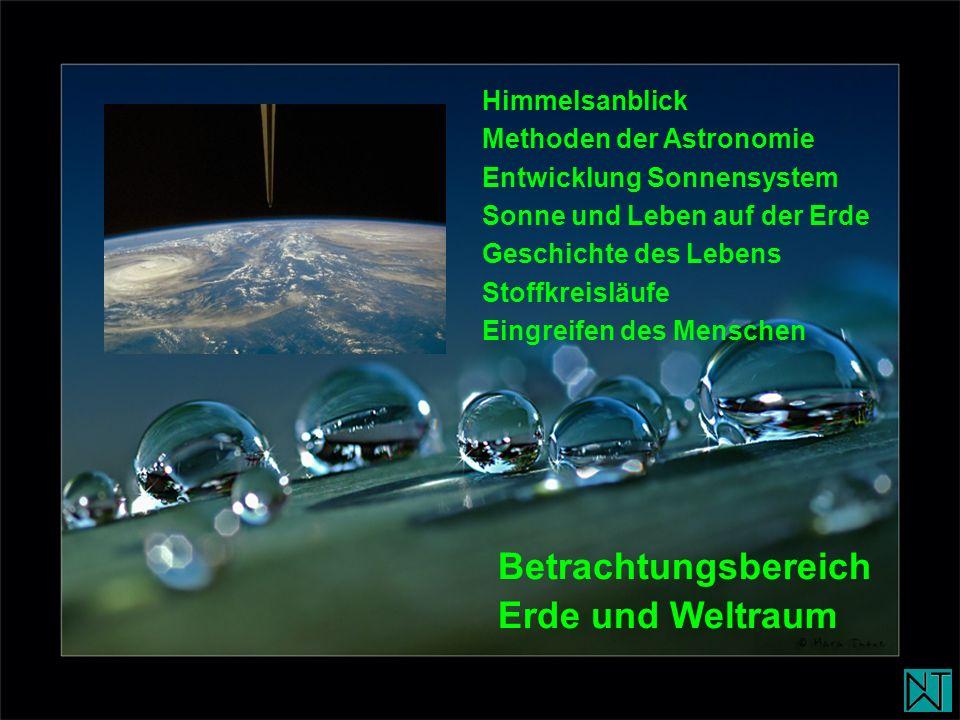 Himmelsanblick Methoden der Astronomie Entwicklung Sonnensystem Sonne und Leben auf der Erde Geschichte des Lebens Stoffkreisläufe Eingreifen des Mens