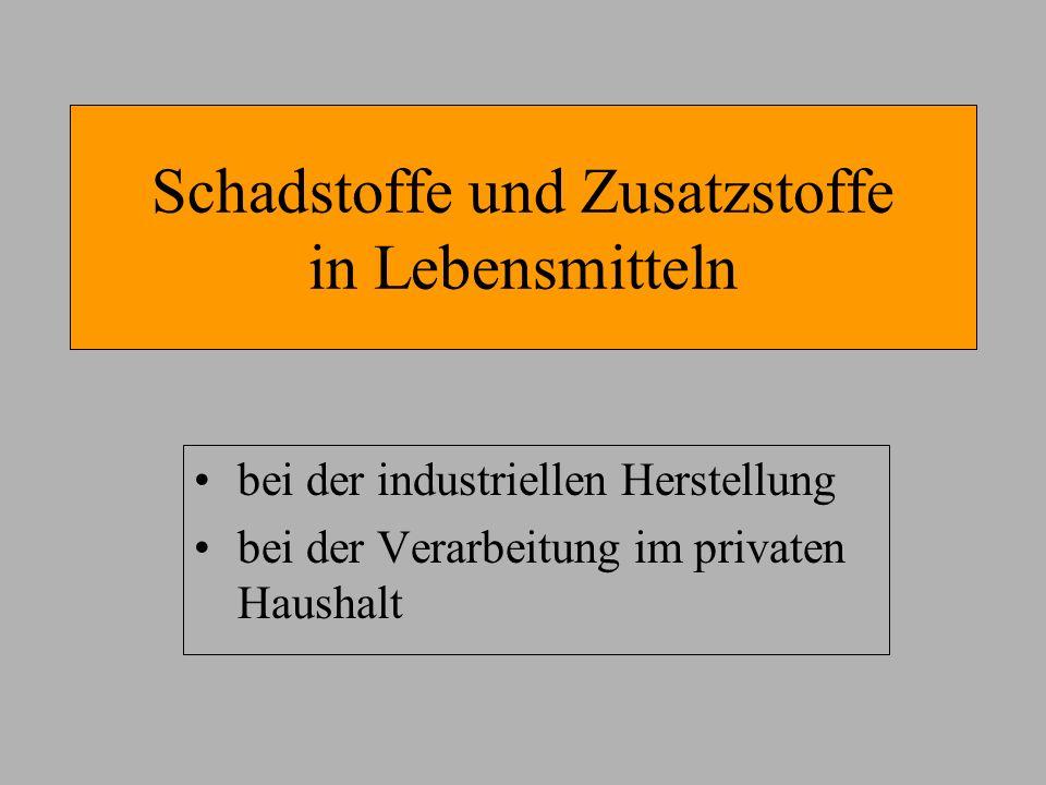 Schadstoffe und Zusatzstoffe in Lebensmitteln bei der industriellen Herstellung bei der Verarbeitung im privaten Haushalt