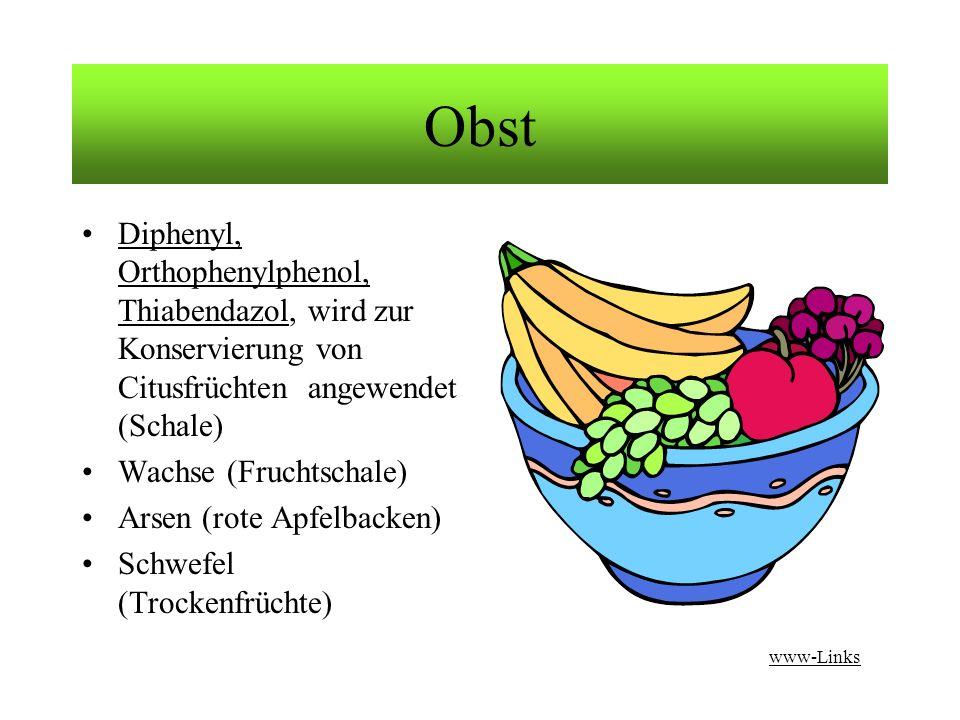 Obst Diphenyl, Orthophenylphenol, Thiabendazol, wird zur Konservierung von Citusfrüchten angewendet (Schale)Diphenyl, Orthophenylphenol, Thiabendazol Wachse (Fruchtschale) Arsen (rote Apfelbacken) Schwefel (Trockenfrüchte) www-Links