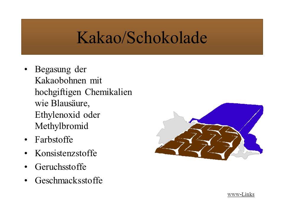 Kakao/Schokolade Begasung der Kakaobohnen mit hochgiftigen Chemikalien wie Blausäure, Ethylenoxid oder Methylbromid Farbstoffe Konsistenzstoffe Geruchsstoffe Geschmacksstoffe www-Links