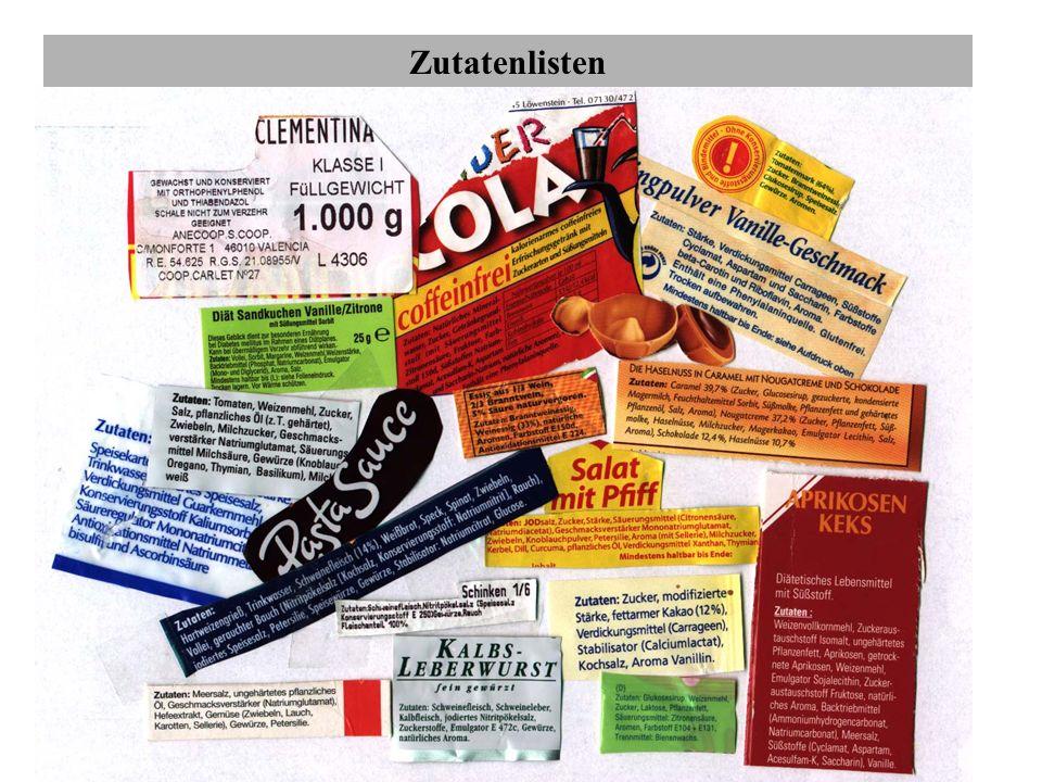 Propionsäure und ihre Salze E 280- 283 In der Bundesrepublik ist sie nur für wenige Lebensmittel zugelassen, z.B für verpacktes Schnittbrot feine Backwaren mit mehr als 22% Feuchte, Kuchen mit feuchter Auflage oder Füllung, manche Käsesorten (z.B.