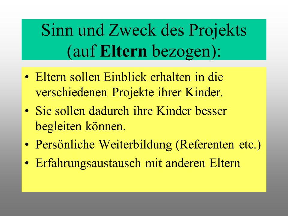 Sinn und Zweck des Projekts (auf Eltern bezogen): Eltern sollen Einblick erhalten in die verschiedenen Projekte ihrer Kinder.