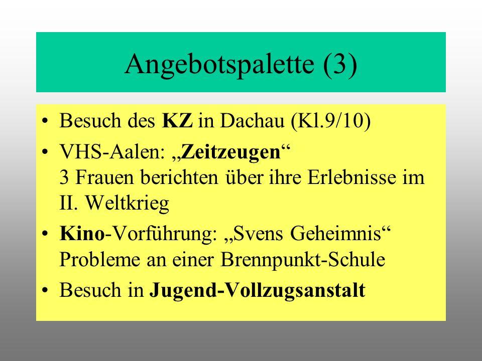 Angebotspalette (3) Besuch des KZ in Dachau (Kl.9/10) VHS-Aalen: Zeitzeugen 3 Frauen berichten über ihre Erlebnisse im II.