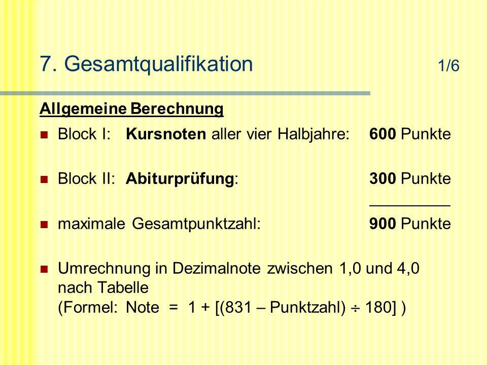 7. Gesamtqualifikation 1/6 Allgemeine Berechnung Block I:Kursnoten aller vier Halbjahre:600 Punkte Block II:Abiturprüfung:300 Punkte maximale Gesamtpu
