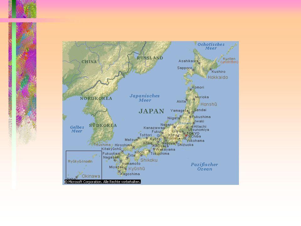 KennzeichneTiefländer grün, Bergländer braun. Übertrage aus dem Atlas die Höhen- angaben für die 4 höchsten Berggipfel. Benenne die 4 Hauptinseln Japa